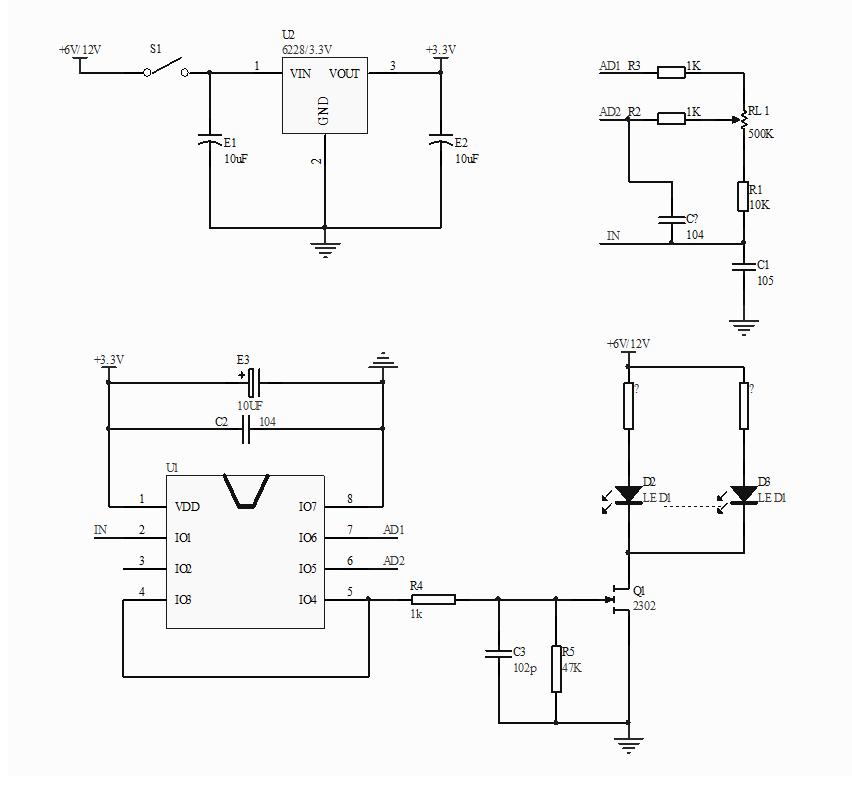 当旋扭调光镜电路板顺时针旋动电位器时,灯光会渐渐增加亮度,逆时针